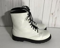 FOREVER 21 White Combat Lace Up Boots Size:9 NEW
