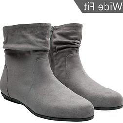 Women's Wide Width Ankle Boots, Chunky Block Flat Boots Slip