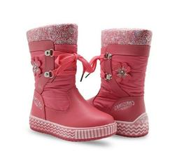 Winter Boots for Little Girls Lace-up Leather Snow Boots Woo