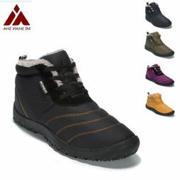 Winter Snow Boots Warm Fur-lined Shoes for Men Women Anti-sk