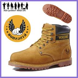 Kingshow Winter Snow Work Boots Mens Work Shoes Genuine Leat