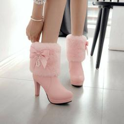 Winter Women's Bowknot High Heels Snow Ankle Boots Warm Boot