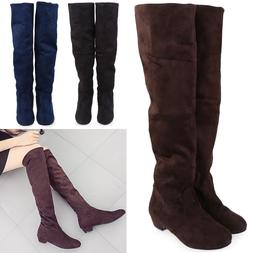 Woman Fashion New Flat Low Heel Over The Knee Thigh High Str