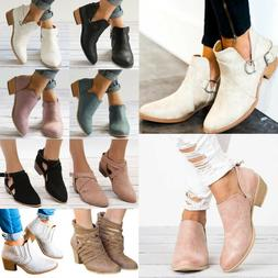 Women Ankle Short Boots Casual Mid Block Flat Heels Chunky B