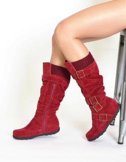 Women's Knee High Flat Boots Mid-Calf Strappy Faux Suede Kni