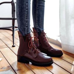 Women Casual Round Toe Lae UP Ankel Boots Combat Motorcycle