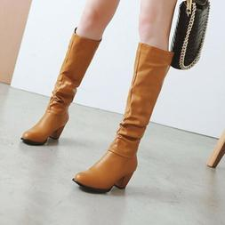 Women Chunky Heels Slouch Knee High Combat Boots Pull on Sho