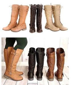 Women-Knee-High-Lace-Up / Quilted- Military-Combat-Boots-Rid