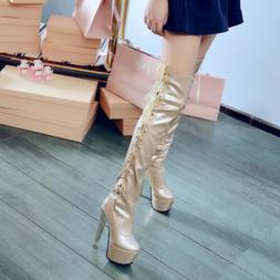 Women Lace Up Over Knee High Riding Boots Leather Slouch Blo