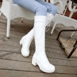 Women Lace up Riding Punk Goth Knee High PU Leather Boots Bl