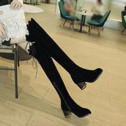 Women Lace Up Side Zip Casual Chunky Heels Knight Over the K