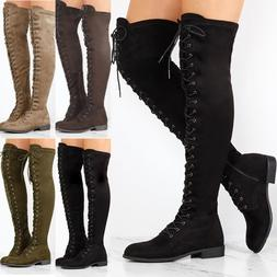 Women Lace Up Side Zip Over The Knee Boots Thigh High Combat