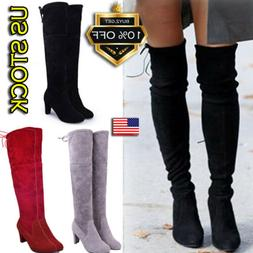 Women Ladies Thigh High Boots Over The Knee Party Stretch Bl