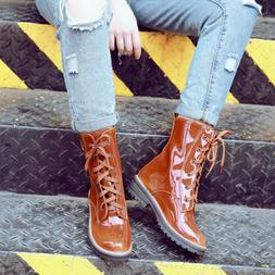 Women Low Block Heels Shiny Patent Leather Ankle Combat Boot