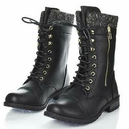 Forever Link women Mango-31 Round Toe Military Lace Up Knit