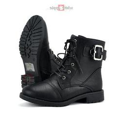 Women Military Combat Boots Round Toe Lace-up w/ Zipper Top