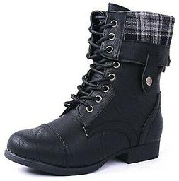 JJF Shoes Women Military Combat Foldable Cuff Faux Leather P