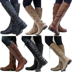 Women PU Leather Mid Calf Boots Ladies Block Low Heels Lace