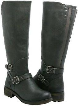 Women PU Leather SIZE 6.5 B Riding Boots MID-CALF BOOTS Rain
