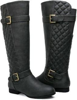 Women PU Leather SIZE 6 B Fashion WIDE MID-CALF BOOTS Rain S