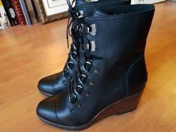SOREL  Women's AFTER HOURS LACE WEDGE BLACK LEATHER BOOTS -