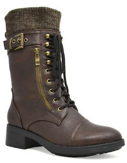 DREAM PAIRS Womens Faux Fur Mid Calf Lace Up Military Combat