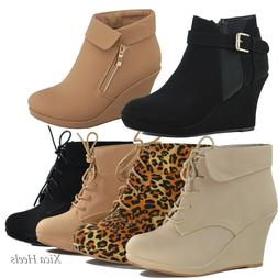 Women's Ankle Boots Wedge Almond Toe Platform Lace Up Fashio