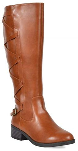 TOETOS Women's Ankor Tan Knee High Riding Boots Wide Calf Si