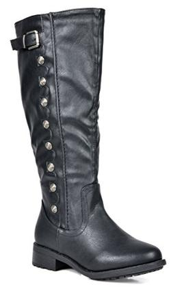 DREAM PAIRS Women's Army Black Pu Leather Knee High Winter R