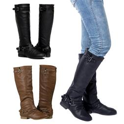 Women's Back Zipper Knee High Riding Boots with Buckle Strap