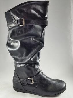 Rampage Baily Black Knee High Pull On Women's Boots