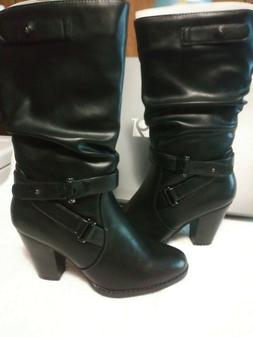 Women's Black Heeled Boots Size 7  Fashion Belted Straps Hee