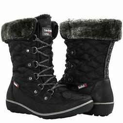 GLOBALWIN Women's Black Winter Snow Boots 8.5M US
