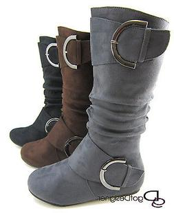Women's Boots Slouch Comfort Flat Mid Calf Knee High Round T