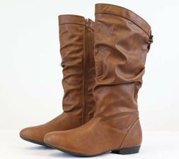 Women's Brown Slouchy Mid Calf Boots Side Zipper Low Heel