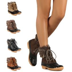 Women's Buckled Lace Up Side Zip Ankle Rain Boot Waterproof