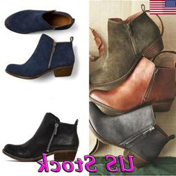 Women's Casual Booties Low Heels Block Ankle Boots Round Toe