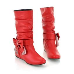 Women's Casual Mid Calf Boots Rhinestone Knight Shoes Bowtie