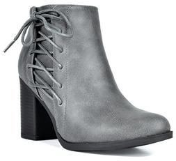 TOETOS Women's Chicago-01 Grey Faux Leather Pu Chunky Heel A