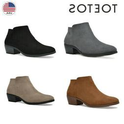 TOETOS Womens Chunky Booties Low Block Ankle Boots Side Zip