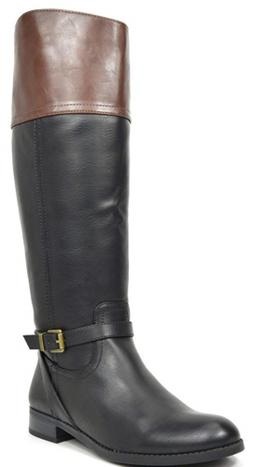 TOETOS Women's Circo Black Brown Knee High Riding Boots Wide