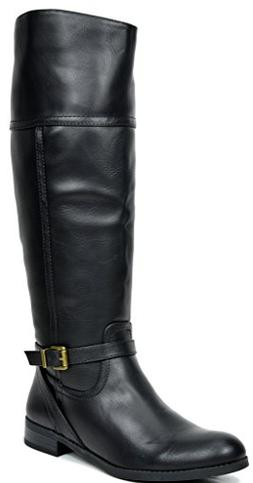 TOETOS Women's Circo Black Knee High Riding Boots Wide Calf