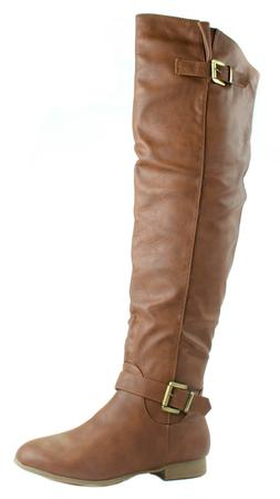 f5a6ab40fc7 Top Moda Women s Coco-29 Knee High Plain Faux Leather Boots