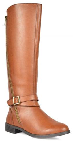 TOETOS Women's Donna Tan Knee High Winter Riding Boots Wide