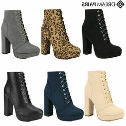 DREAM PAIRS Womens Ladies Ankle Boots Chunky High Heel Lace