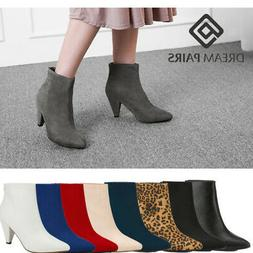 DREAM PAIRS Women's Stylish Suede/Pu Zipper Pointed Toe  Hig