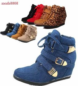 Women's High Top Fashion Round Toe Lace Up Wedge Sneaker Sho