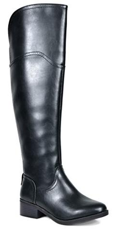 TOETOS Women's Hope Black Over The Knee Riding Boots Size 7.