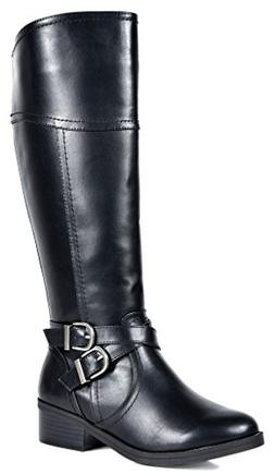 TOETOS Women's Jordan Black Fashion Knee High Riding Boots S