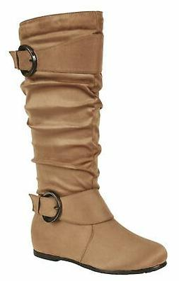 Forever Link Women's Knee High Buckle Accent Slouchy Scrunch